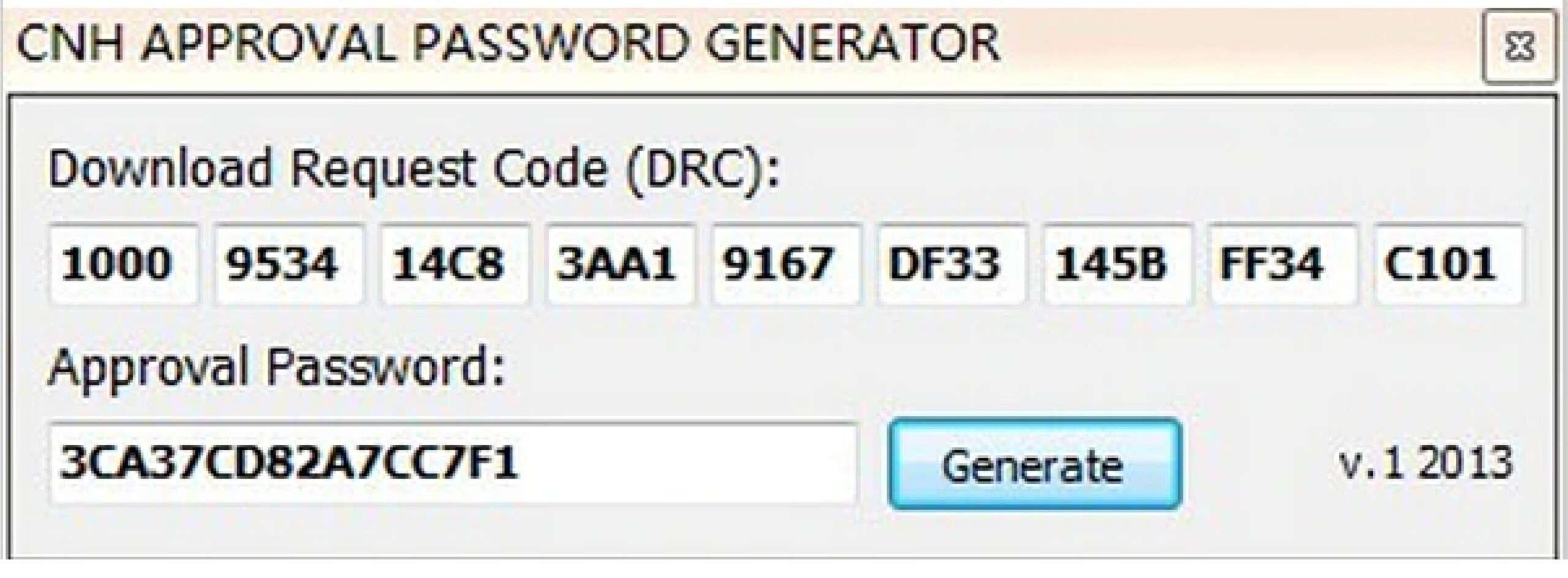 Case CNH EST Approval Password Generator SS-01