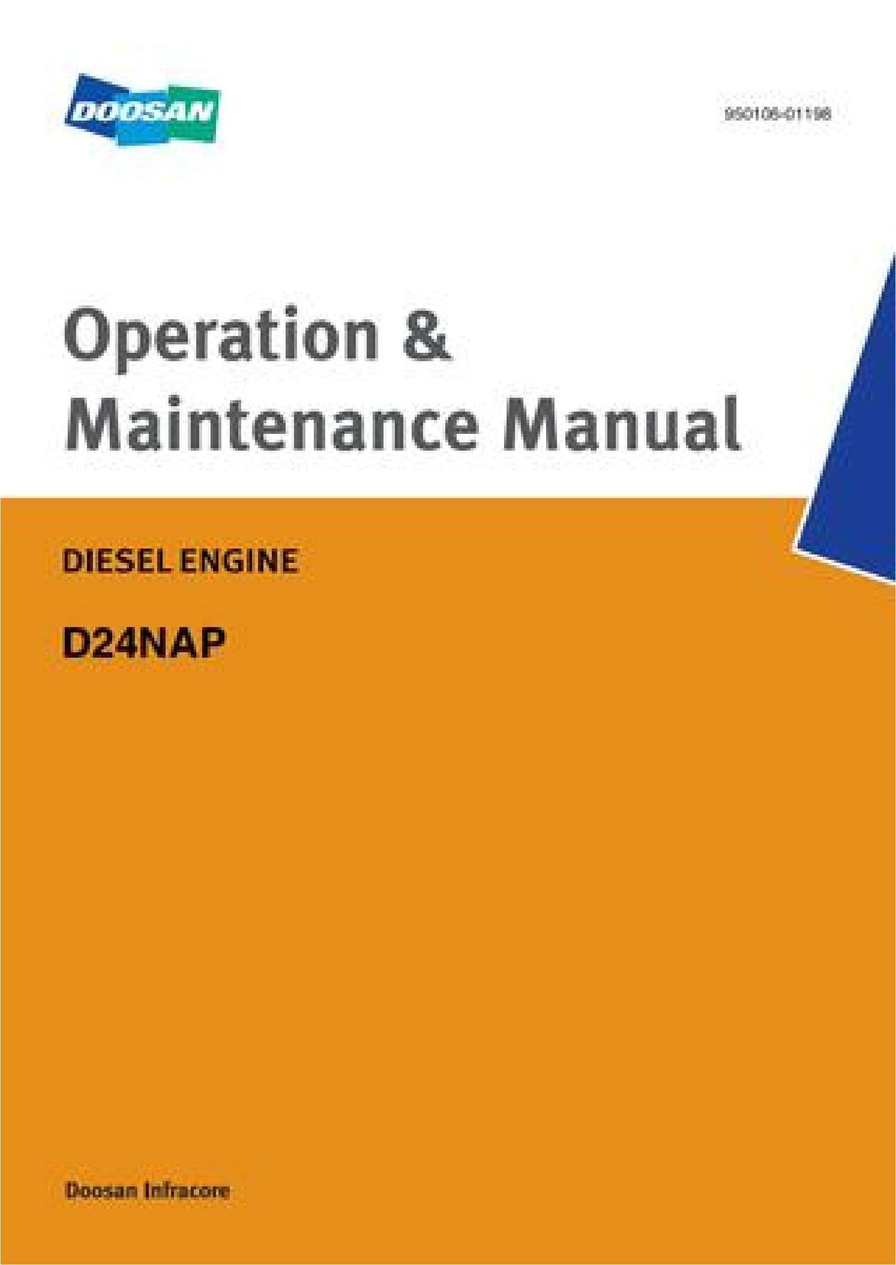 Doosan Diesel Engines Service, Maintenance manual SS-01