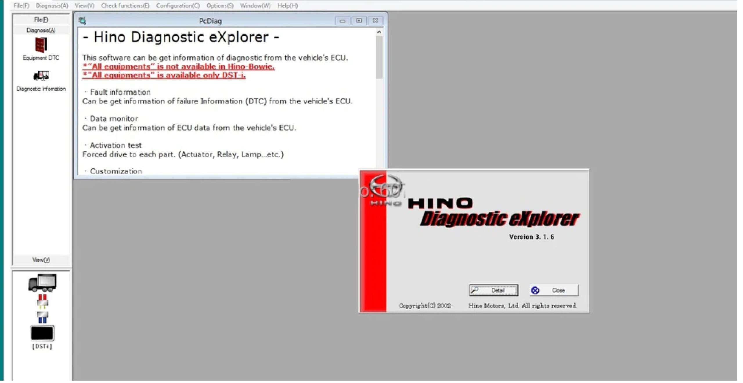 Hino Diagnostic eXplorer 3 + Reprog Manager SS-01-01