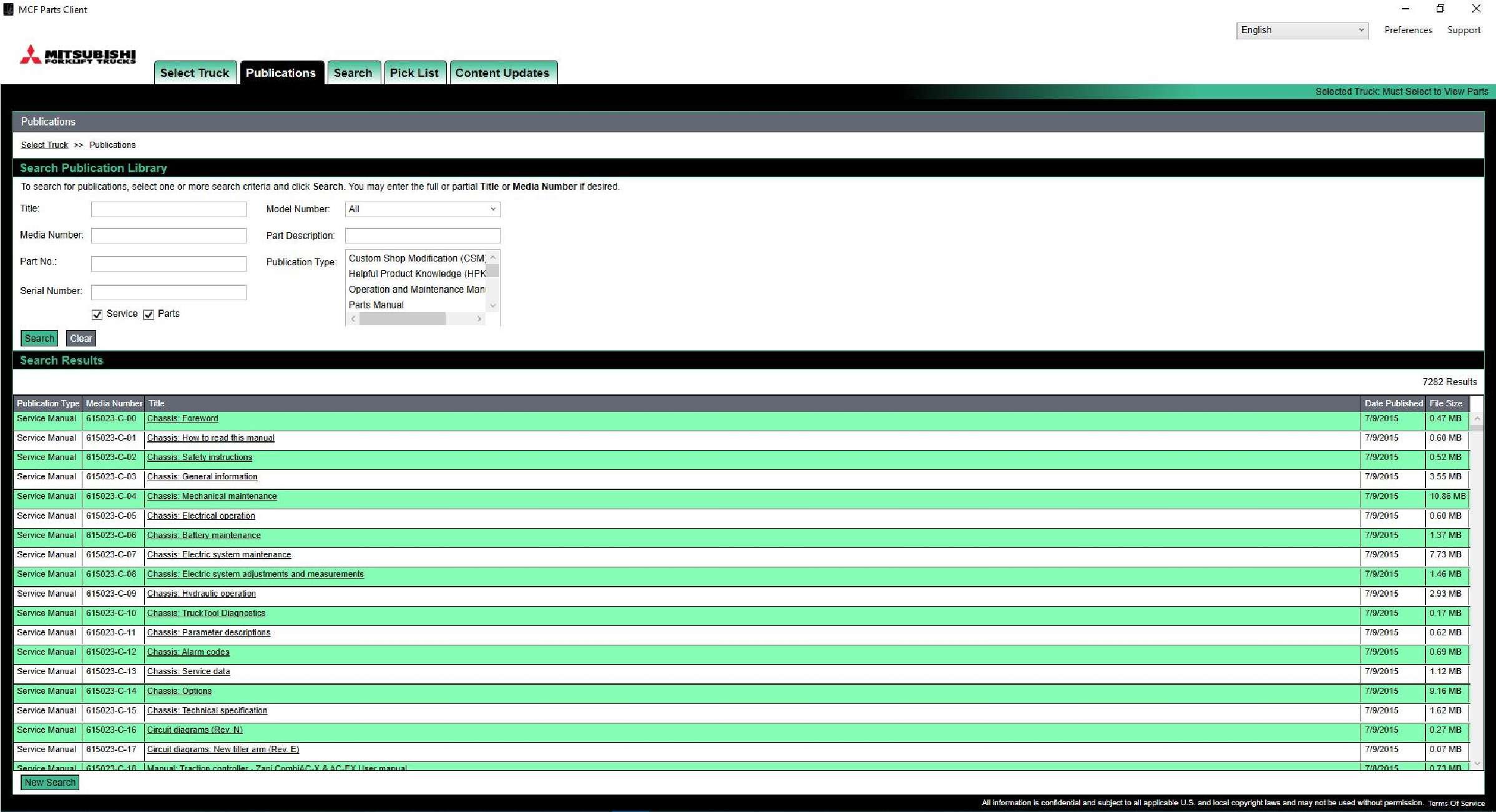 Mitsubishi Forklift Trucks MCFA 2020 Spare Parts Catalogue + Service Manuals SS-01