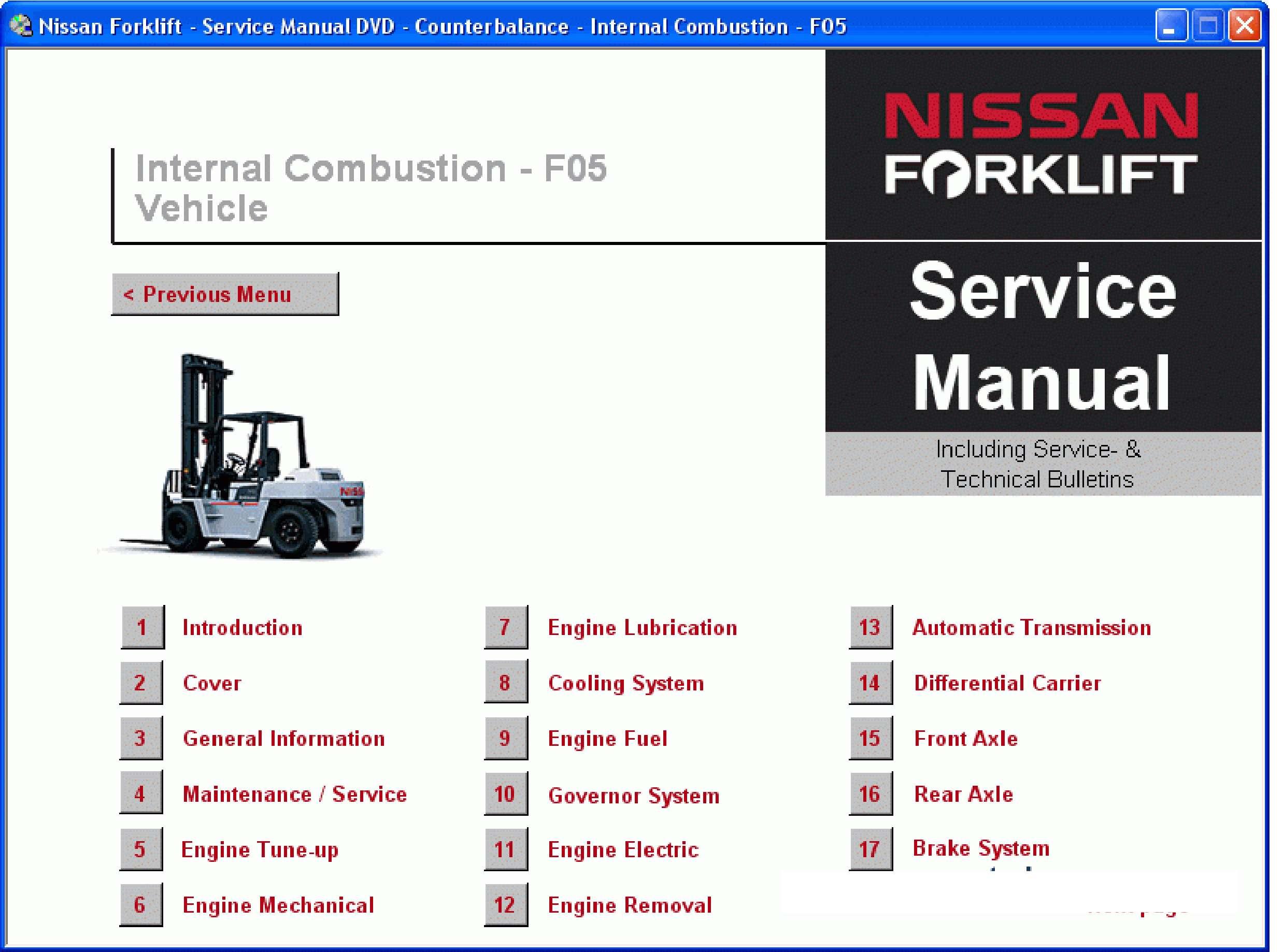 Nissan Forklift Service Manual SS-01