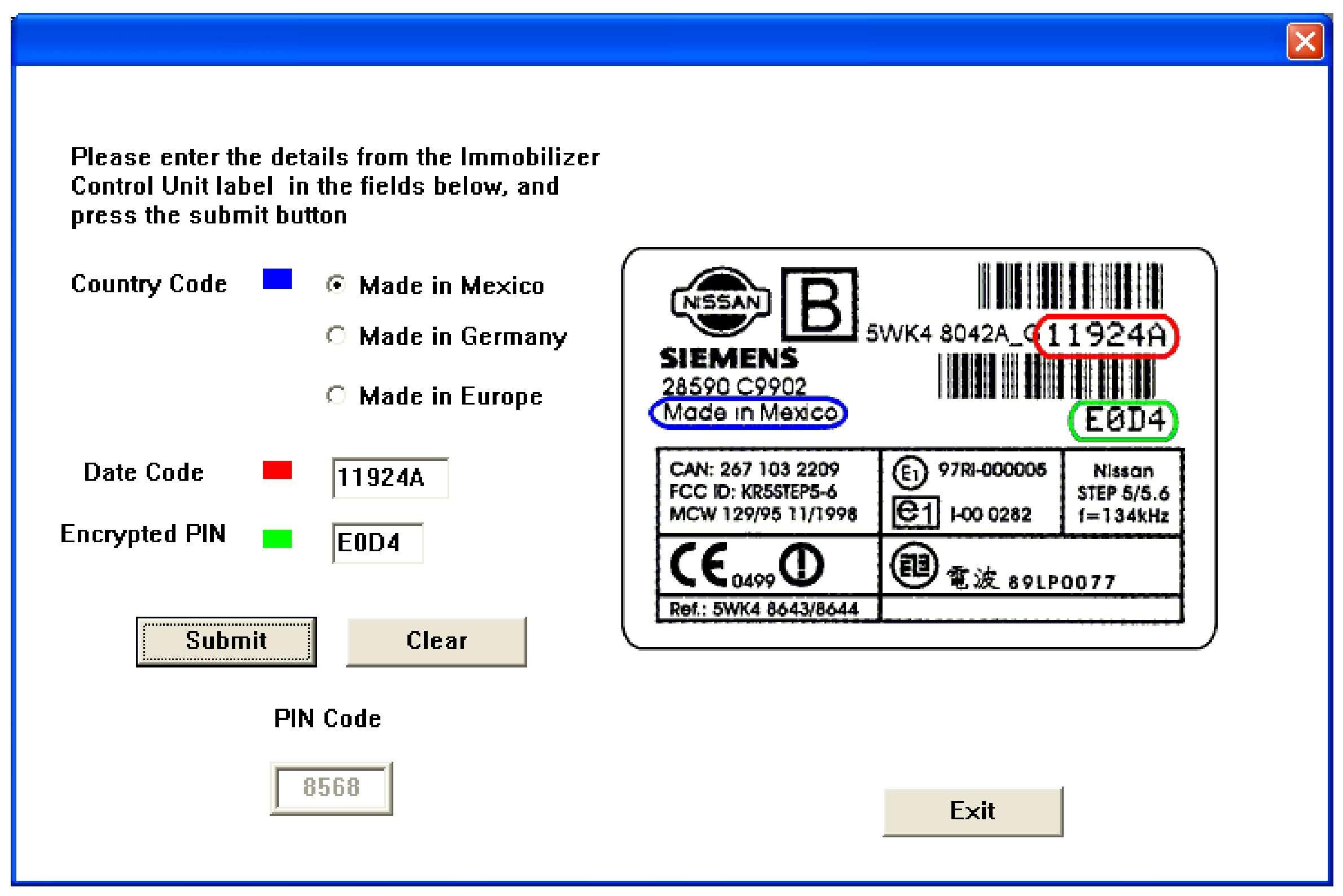 Nissan NATS pin code calculator SS-01