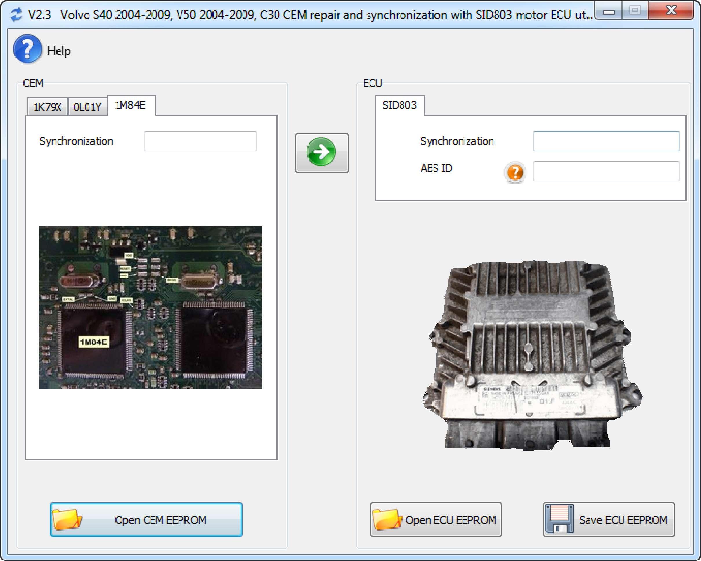Volvo IMMO Synchro 2.3 - Volvo S40 V50 2004-2009 с ЭБУ SID803 ss-01